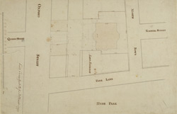 [Plan of the site of Camelford House, corner of Oxford street and Park Lane, built by Thomas Pitt, afterwards Lord Camelford, and the property adjoining]